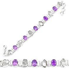 925 silver natural white herkimer diamond amethyst tennis bracelet k85773