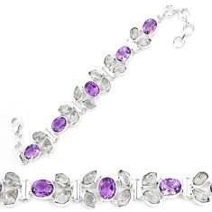 925 silver natural white herkimer diamond amethyst tennis bracelet k85784