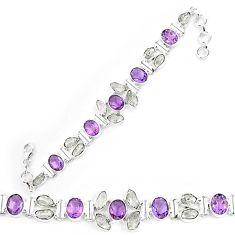 Natural white herkimer diamond amethyst 925 silver tennis bracelet k85789