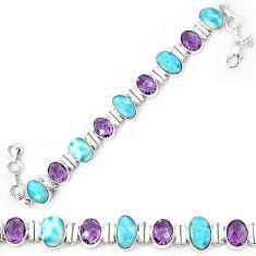 Natural blue larimar amethyst 925 sterling silver tennis bracelet k85981