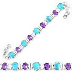 Natural blue larimar amethyst 925 sterling silver tennis bracelet k85988