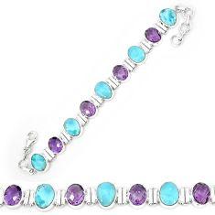 925 sterling silver natural blue larimar amethyst tennis bracelet k85999