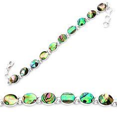 Natural green abalone paua seashell 925 sterling silver tennis bracelet k86487