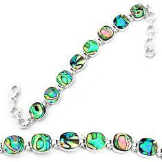 925 sterling silver natural green abalone paua seashell tennis bracelet k86490