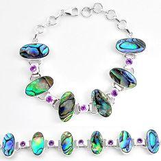 Natural green abalone paua seashell amethyst 925 silver tennis bracelet k86496