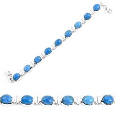 925 sterling silver natural blue owyhee opal oval shape bracelet jewelry k86653