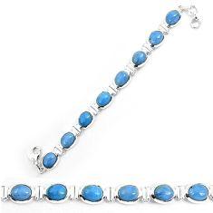 925 sterling silver natural blue owyhee opal oval shape bracelet jewelry k86660