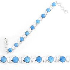 Natural blue owyhee opal 925 sterling silver tennis bracelet jewelry k86667