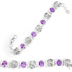 Natural white herkimer diamond purple amethyst 925 silver tennis bracelet k86702
