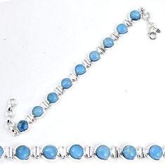 Natural blue owyhee opal round 925 sterling silver tennis bracelet k86757