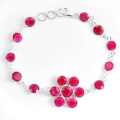 Red ruby quartz 925 sterling silver tennis bracelet jewelry k87832