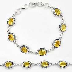 Natural yellow citrine 925 sterling silver tennis bracelet jewelry k90920