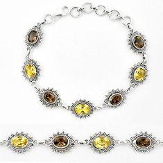Natural yellow citrine smoky topaz 925 sterling silver tennis bracelet k90939