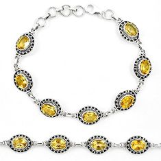 Natural yellow citrine 925 sterling silver tennis bracelet jewelry k90942