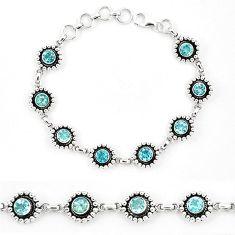 Natural blue topaz 925 sterling silver tennis bracelet jewelry k90955