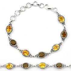 Natural yellow citrine smoky topaz 925 sterling silver tennis bracelet k90996