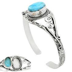 Natural blue larimar 925 sterling silver adjustable bangle jewelry k91287