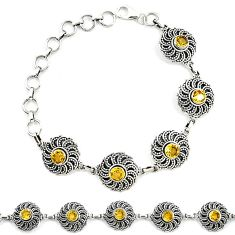 Natural yellow citrine 925 sterling silver tennis bracelet jewelry k92123