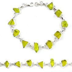 Natural lemon topaz rough 925 sterling silver tennis bracelet jewelry k92441