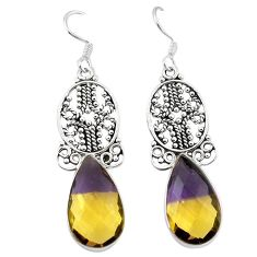 Clearance-Multi color ametrine (lab) 925 sterling silver dangle earrings k62263