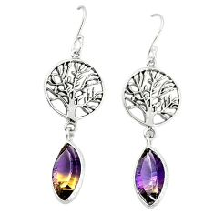 Clearance-Multi color ametrine (lab) 925 silver tree of life earrings jewelry k66910