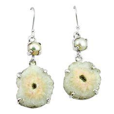 Clearance-Natural white solar eye pearl 925 silver dangle earrings jewelry k77286