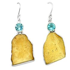 Clearance-Natural libyan desert glass (gold tektite) 925 silver dangle earrings k77650