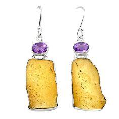 Clearance-Natural libyan desert glass (gold tektite) 925 silver dangle earrings k77654