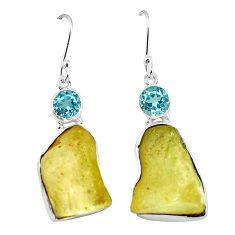Clearance-Natural libyan desert glass (gold tektite) 925 silver dangle earrings k77656