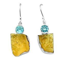 Clearance-Natural libyan desert glass (gold tektite) 925 silver dangle earrings k77659