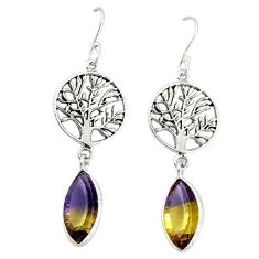 Multi color ametrine (lab) 925 silver tree of life earrings jewelry k80071
