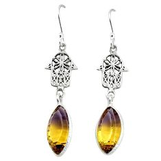 Clearance-Multi color ametrine (lab) 925 silver hand of god hamsa earrings jewelry k80202
