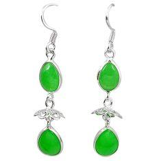 Green jade 925 sterling silver dangle earrings jewelry k80858