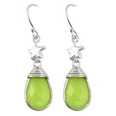 Clearance-Natural green prehnite 925 sterling silver dangle earrings jewelry k83205