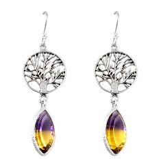 Clearance-925 sterling silver multi color ametrine (lab) tree of life earrings k83634