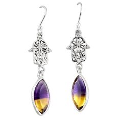 Clearance-Multi color ametrine (lab) 925 silver hand of god hamsa earrings k83712