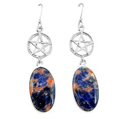 Natural orange sodalite 925 silver star of david earrings jewelry k85271