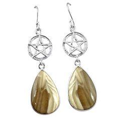 Natural grey striped flint ohio 925 silver star of david earrings k85288