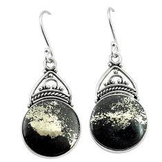 Golden pyrite in magnetite (healer's gold) 925 silver dangle earrings k91976