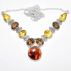 Clearance-925 silver natural fire agate citrine smokey topaz sterling necklace k74733