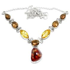 Clearance-Natural multi color mexican fire agate citrine 925 silver necklace k74735
