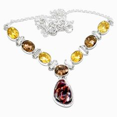 Clearance-925 silver natural multi color mexican fire agate citrine necklace k74736