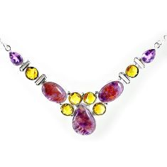 Clearance-Natural purple cacoxenite super seven (melody stone) 925 silver necklace k76142