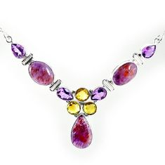 Clearance-Natural purple cacoxenite super seven (melody stone) 925 silver necklace k76148