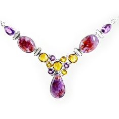 Clearance-925 silver natural purple cacoxenite super seven (melody stone) necklace k76149