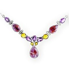 Clearance-Natural purple cacoxenite super seven (melody stone) 925 silver necklace k76150