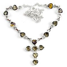 Clearance-23.22cts multicolor ametrine (lab) 925 sterling silver necklace jewelry k83309