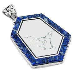 49.36cts natural white howlite lapis 925 sterling silver pendant jewelry k61630
