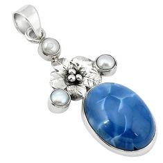 Clearance-Natural brown owyhee bruneau jasper 925 silver flower pendant jewelry k64409