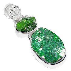 Clearance-Natural green uvarovite garnet chrome diopside rough 925 silver pendant k72961